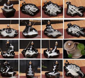 Titular de cerámica esmalte Cascada Reflujo quemador de incienso incensario conos decoración del hogar de 24 Estilo Incienso conos quemador Palo KKA8036