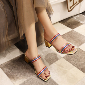 Summer Fashion Woman Sandals Shallow Rome Mouth Female Casual Square heel Sequin sandals and slippers shoes Big size 50 9144-6