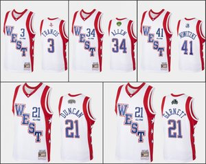 Ray Allen Dirk Nowitzki Tim Duncan Kevin Garnett Steve Francis 2004 All-Star BiancoNBA HardwoodClassici Uomini Jersey