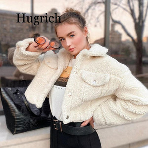 Fashion Lamb 2020 Wolle Herbst-Winter-Mantel-Frauen-Jacke Fleece Shaggy Warm Kurzjacken Overcoat Einreiher Outwear