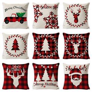 Christmas Pillowcase Cover Linen Cushion Covers Santa Claus Printed Cushion Cover Home Pillowcase Cover Supplies 33 Designs BT389