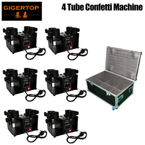 New Style 4PCS LOT With Flight Case Big Show Party High Performance High Meeting Led Light Confetti Cannon Confetti Machine With 4Tube