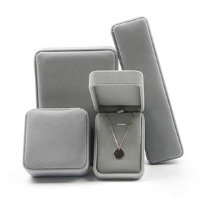 Luxury Velvet Jewelry Box for Ring Bracelet Necklace Earring Cases Gift Boxes White Black Red Pink Color Available Hiphop Jewelry Accessorie