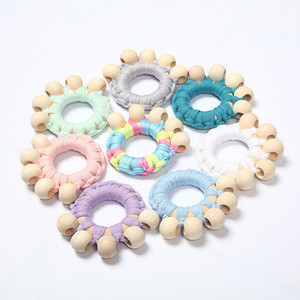 Ins 8 Colors 8cm Children's Wooden Hand toy Cartoon Cotton Rope Rattles OrnamentsReassure Class Weave Rattles kids Birthday Gifts M2514