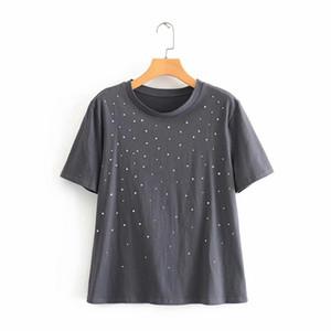 2020 femmes mode casual décoration rivet solide T-shirt tricoté femme o cou à manches courtes loisirs T-shirt basic chic en tête T635