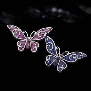2pcs 76*40mm Silver Plated Cubic Zirconia micro butterfly brooch Pin