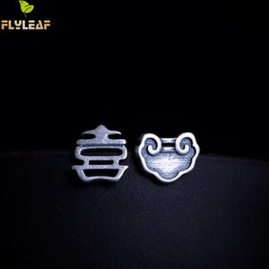 Flyleaf Asymmetry Chinese Characters Festive Meaning Stud Earrings For Women 100% 925 Sterling Silver Vintage Jewelry Brincos
