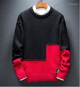 Mens Camisolas cor sólida Stitching manga comprida Hommes Moda Tops Casual Magro Masculino Pullovers Designer Inverno