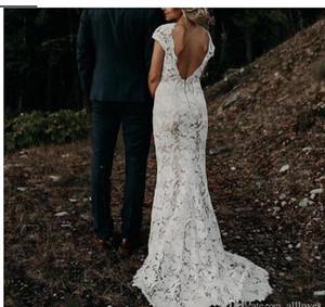 Bohème Robes de Mariée 2020 Campagnard col en V profond sirène Robes de mariée mancherons Backless Robes de mariée Plus Size AL3030