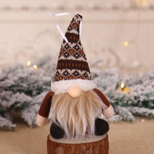 Ornement de Noël en peluche tricotée Faceless Père Noël Doll Christmas Tree Tenture Pendentif de vacances Décor arbre cadeau Décorations CYZ2821