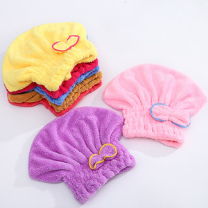Coral Fleece Bath Hat Magic Hair Drying Towel Water Absorption Quick Dry Shower Cap with Cute Bow WB2707