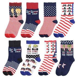 Donald Trump Presidente Meias americano Estrelas Stripped bandeira dos EUA meia de algodão Média Unisex Sports Meias 9 estilos FWC1295