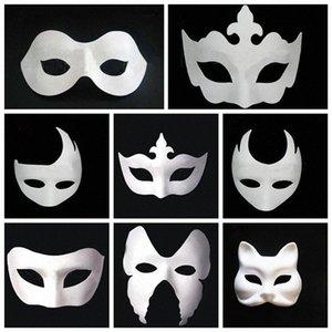 Maquiagem Dança Branco Embryo Mold Pintura Handmade Máscara Pulp Festival Crown Mask Halloween cara branca T9I0078 Sheg #