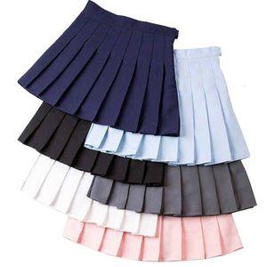 Девочка плиссированные теннис юбки высокой талией короткое платье с Трусы Тонкий Школьная форма Женщины подросток Болельщица Бадминтон Юбки