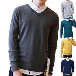 Свитер мужчин кашемировый свитер толстый теплый Пуловеры Мужчины сплошной цвет V шеи длинным рукавом Тонкий пуловер Плюс Размер трикотажных изделий