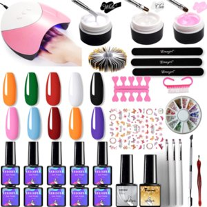 Manicure Builder gel Nail Set UV Nail Polish Set Kit 54 6W UV LAMP Drill Art Manicure Sets Extension Kit