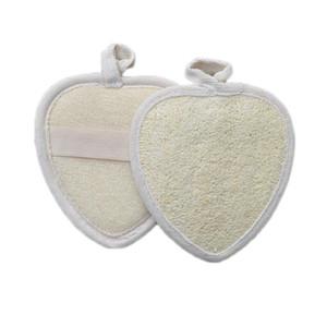 DHL 14X13CM Coeur naturel loofah Dosseret Tapis luffa éponge Douche Exfoliant Body Scrubber Tapis de bain Accessoires DHF897