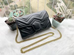 Top Qualität Womens Umhängetasche PU-Leder Gold Kette Tasche Frau Kreuz Körper Reine Farbe Weibliche Frauen Handtasche 21cm