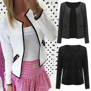 Autumn Women Elegant Solid Color Pocket Zipper Casual Suit Jacket Women Plus Size Coat Female Outwear 3 Colors S 4xl