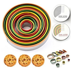 Egg Mold Colorful Stainless Steel Biscuit Cutting Set Round Shape Molds Mousse Cake Biscuit Donuts Cutter Kitchen Tools SEA WGY AHF3358