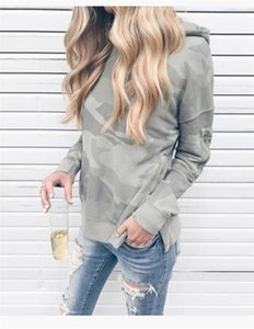 Sleeve Casual Loose Split Womens Designer Hoodies High Street Fashion Streetwear Camouflage Hooded Autumn Womens Hoodies Long