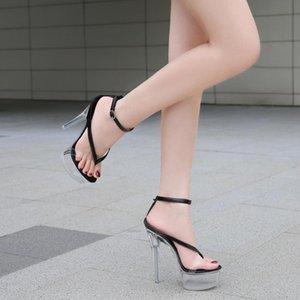 Обувь 2020 Новый Кристалл каблука Вьетнамки Женщины Sexy платформы Тонкие Heel14CM Высокие каблуки женщин сандалии полюс танцевальная обувь