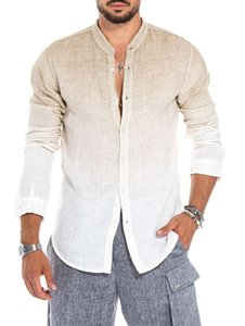 Mens Designer Gradient Colore Lino camicia collare del basamento Moda Maniche lunghe Hommes Estate Top Man O Collo Tees