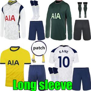 20 21 kit manica Tottenham casa lunghe maglie di calcio 2020 insieme camicia 2021 Spurs via verde KANE FIGLIO BELE LUCAS DELE Calcio su misura
