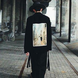 20SS Ilustração da fita remendo Jacket Primavera Outono Mulheres Moda Men Outwear Casual High Street Preto Vintage Casacos Outdoor HFYMJK353