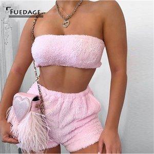 Fuedage sin tirantes rosa atractiva dos cultivos conjunto de piezas de tapa y los cortocircuitos sin respaldo de 2 pedazos de las mujeres suéter de punto femeninos Trajes 2020 T200821