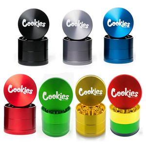 Cookies Grinder California SF Vape Packaging 4 Layers Zinc Alloy Rainbow Herb Grinders 40*35mm Tobacco Accessories with Retail Box Package