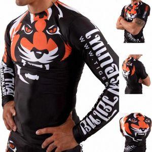 Rashguard Muay Thai Jerseys Sublimated Print Gentle Tiger Pants Boxeo BJJ JiuJitsu Training Rash Guard T-Shirt 3iGy#