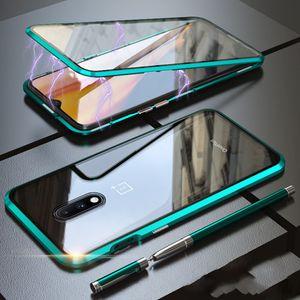 360 Metal Case Magnetic Protect completo para OnePlus 8 Pro à prova de choque de vidro temperado capa para OnePlus 8 7 7T Pro Covers One Plus 8 Pro