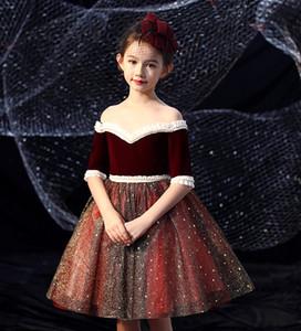 Sweet Red Straps Sleeve Beads Short Flower Girls' Dresses Girl's Brithday Dresses Girls' Formal Dress Holiday Dresses Custom SZ 2-12 D906075