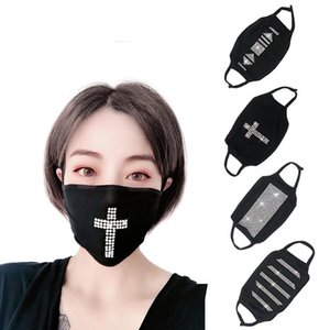 Cross Bling Adjustable Fashion Party Sequins   Adult face mask women washable Reusable Dust Windproof womens Cotton Masks