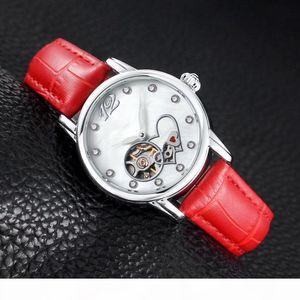 2020 Vestido Relojes Mujeres Moda Flywheel Love Heart Rhinestone Dial Mecánico Mecánico Reloj de pulsera femenino para damas Mejor regalo de San Valentín