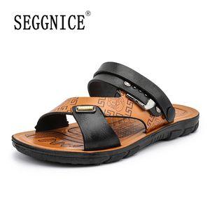 SEGGNICE 2020 Sommer-Männer Strand Offene Toe Sandalen Sandalen aus Leder Anti-Rutsch-Breathable Male Urlaub im Freien wasserdichte Schuhe