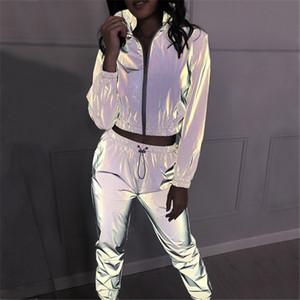 Donna 2pcs insiemi dei vestiti delle donne riflettenti Tuta Moda Zipper collo giacca corta lunghezza superiore della caviglia della matita Pant