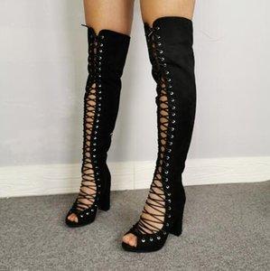Новый черный вырезает Lace Up Front Ботфорты Мода Женщина Peep Toe Гладиатор коренастый пятки над коленом Boots обувь