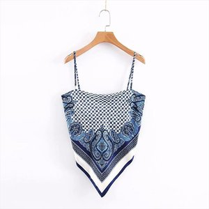 2020 New Women vintage paisley print spaghetti strap sexy chic camis tank ladies summer backless bowknot sling tops LS3866