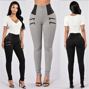 Yoga Trousers Designer New Female Pure Color Casual Sports Leggings Clothes Women High Waist Zipper Pants Fashion Elastic Waist Skinny
