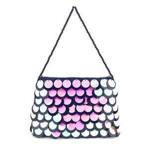 Designer-Espumante Sequins Clutch Pérola Bucket Bag Purse Bling Glitter Evening Clutch Bolsa de Ombro Cadeia