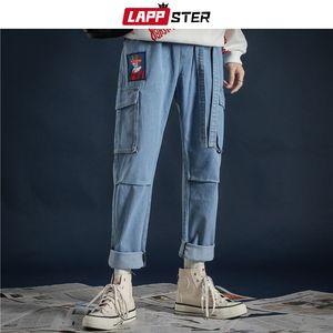 LAPPSTER Kore Fashoins Streetwear Kot Pantolon 2020 Kurdeleler Harajuku Baggy Jeans Yüksek Kalite Çift Denim Mavi Pantolon CX200815 Cepler