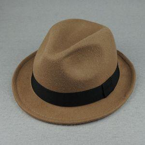 Laine orange élégante Fedora Hat pour les femmes Automne Vintage Trilby Caps large Brim Eglise Jazz Panama Hommes Felt Bowler Hats Yy18111 Y19052004