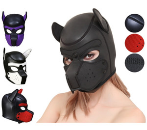 Sexy Cosplay Role Puppy Play Dog Full Head Mask BDSM Bondage Toy Sex Cosplay Mask Fetish Hood Pet Role Play Y200616