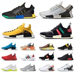 2020 adidas pharrell williams nmd human race r1 V2 Racer Erkekler Kadınlar Koşu Ayakkabı Hu Trail Nerd Siyah Boş Tuval Oreo Eğitmenler Run Sneakers