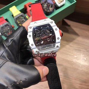 Top Version RM35-01 RAFA Skeleton Dial NTPT White Carbon Fiber White Case Japan NH Automatic 35-01 Mens Watch Red Nylon Strap Sport Watches