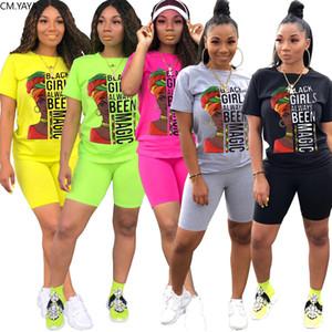 CM.YAYA Sport Women Black Girl Always Magic Two Piece Set Tee Tops Knee Length Jogger Pants Suit Tracksuit Matching Set Outfit X0923