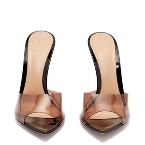 Unisex Hombres Mujeres sandalias atractivas Claro Transparente tacones altos en punta del dedo del pie del talón de estilete sandalias de los zapatos mulas tamaño grande 42 43 44 45