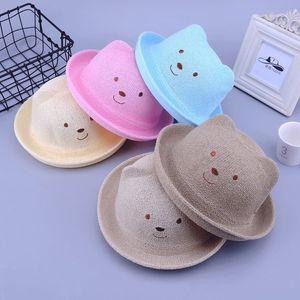дети мультфильм животных Соломенная шляпка Cute Summer уха украшения шлемов Sun для детей девочек мальчиков Твердая Floppy Бич Cap Panama